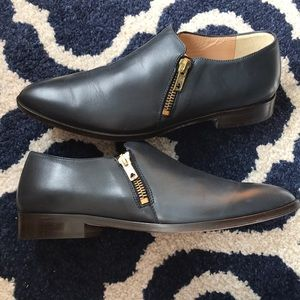 J Crew Navy Leather Double Zip Loafers